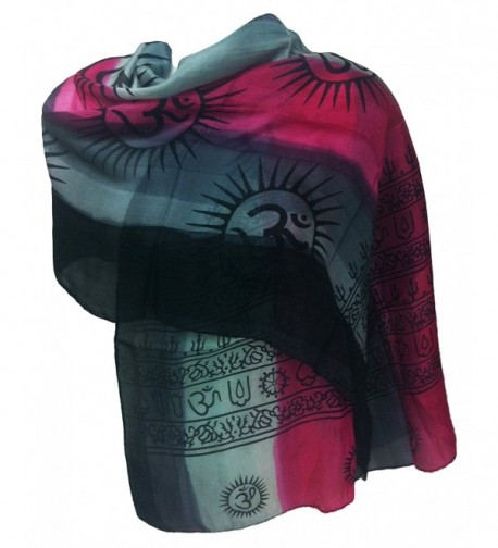 100% Pure Silk Indian Printed Om Mantra Scarf Hand Dyed - Pink/Grey - CE11UFEY1ZX