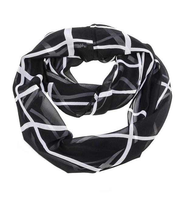 Geometric Square Lines Infinity Scarf - Black - C611KKAQANV