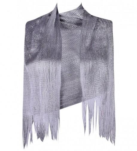 Fashion Scarf for Women Bridal Summer Scarves?Wraps Glitter Evening Dress Shawl - Grey - CW182T7QANY