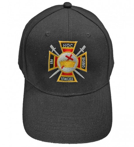 Knights Templar Mason Baseball Cap Freemason Hat Mens One Size Black - C7182RXH339