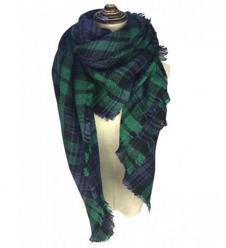 YOUR SMILE Women Tassels Soft Plaid Tartan Stylish Warm Scarf Gorgeous Wrap Shawl - Green - CF186IE54QW
