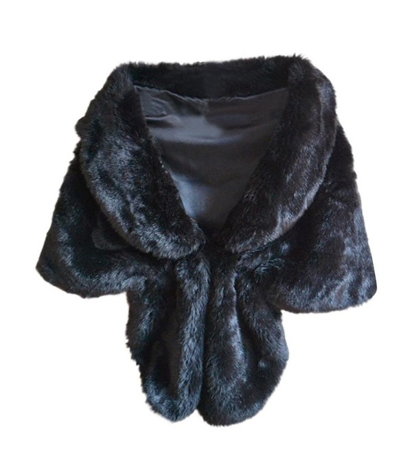 Mr.Macy Fashion Elegant Bridal Wedding Faux Fur Long Shawl Stole Wrap Shrug Scarf - Black - C7189XSW3WY