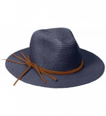 D&Y Women's Paper Crochet Panama Hat with Metallic Braided Band - Navy - CD12BL7VGYV