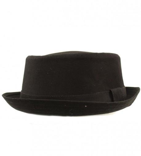 Men's Everyday Cotton All Season Porkpie Boater Derby Fedora Sun Hat - Black - CK17YTKYDUC