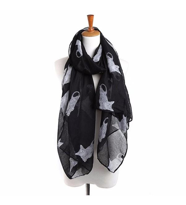 Tuscom Women Ladies Cat Print Long Scarf Warm Wrap Shawl(90cm&times180cm) - Black - CS12NTN8IQE