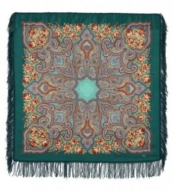 Pavlovo Posad Russian Shawl Pashmina Scarf Shawl Wrap Green №171 100% Wool 35&times35'' - C612GZCW71D