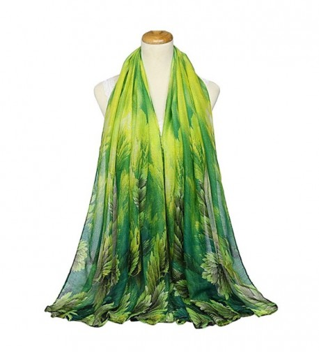 IvyFlair Women's Elegant Lightweight Tree Leaves Print Scarf Shawl Wrap - Green - CB17YL59770