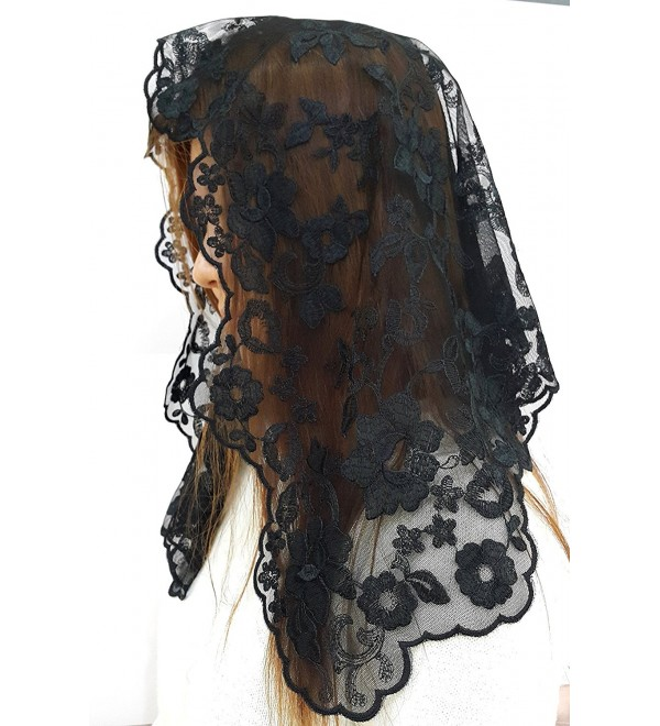 Anna Veils Chapel Catholic Veil Spanish Lace Mantilla Medium - Margaret - Black - CV127KNMZU9