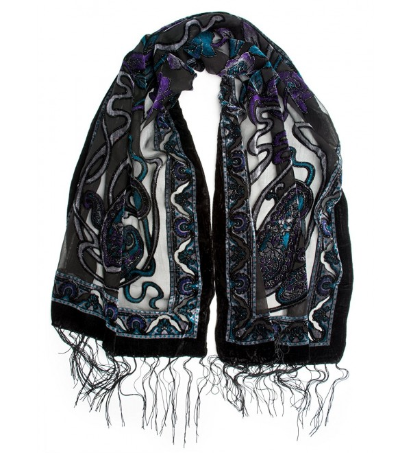 Bohomonde- Muriel Scarf- Silk Art Nouveau Print Velvet Burnout Scarf with Fringe Ends - Amethyst/Jade - CB12C7QQIRP