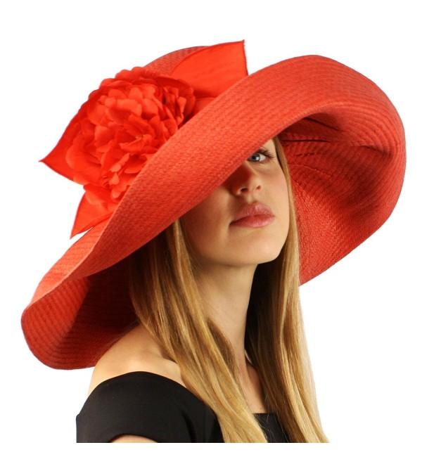 "Summer Foral Ribbon Floppy Sun Big Wide 7"" Brim Beach Hat Cap Adjustable - Red - C011CHZC9PR"