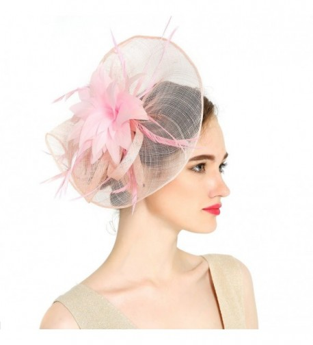 VKFashion Charming Sinamay Flower Fascinator Hats Wedding Headpiece with clips Cocktail Party Hats Pink - Pink - CX184S00LSG