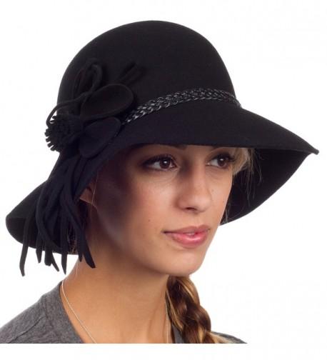 Sakkas Gloria Vintage Style Wool Cloche Hat - Black - CJ11GBXKRBT
