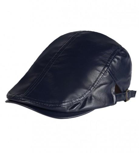 Men PU Leather Duckbill Cap Vintage Ivy Newsboy Cap Flat Cap Cabby Hat - Blue - CX12NR10FJJ