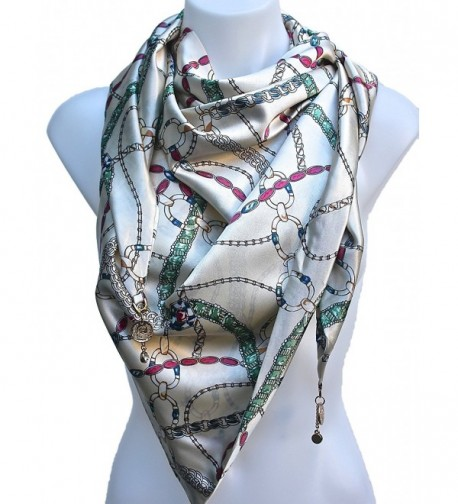 Terra Nomad Women's Triangle Fashion Scarf Shawl with Charms - Cream - C011LUPHYTV