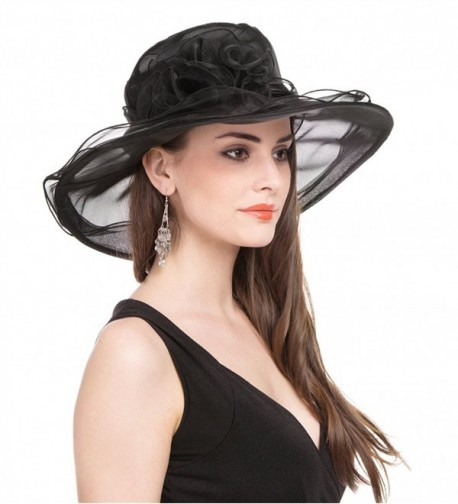 b7862f57a992 ... Bridal Cap British Tea Party Wedding Hat - Black. SAFERIN Women  Kentucky Church Organza. SAFERIN Women Kentucky Church Organza in Women's  Sun Hats. prev