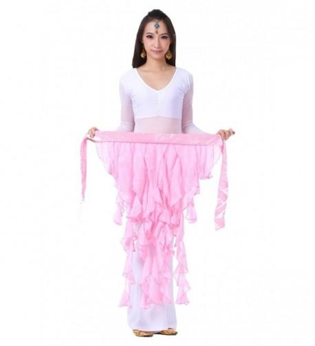 AvaCostume Womens Belly Dance Fairy Chiffon Hip Scarf Skirt - Pink - CQ11YLJJ1CV