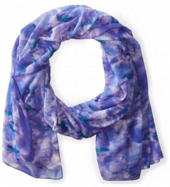La Fiorentina Women's Ikat Rose Printed Scarf - Blue - C911RU0UMO9