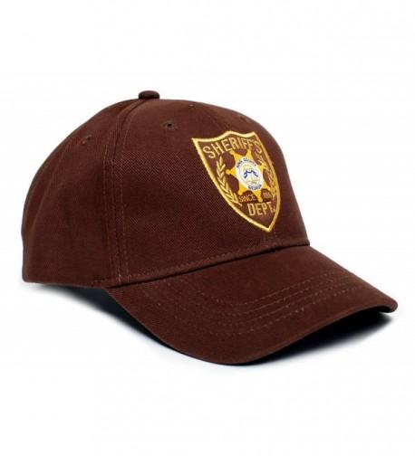 Walking Dead Hat Sheriff's Dept Appliqué Unisex-Adult One-Size Cap Brown - CL11Q5H2BBP