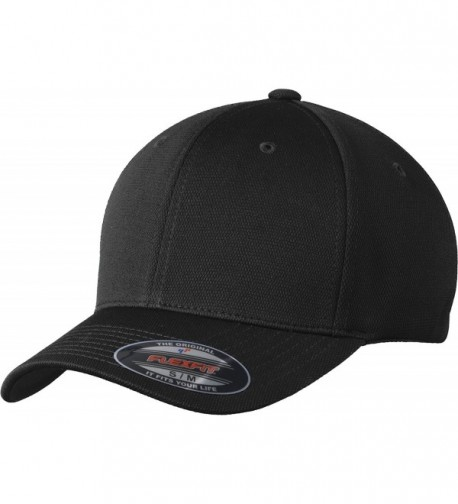 Sport-Tek Men's Flexfit Cool & Dry Poly Block Mesh Cap - Black - CA11QDSNCW3