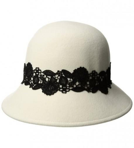 San Diego Hat Company Women's 2.5 inch Brim Coche with Black Lace Trim - Ivory - C717YZL7XDW