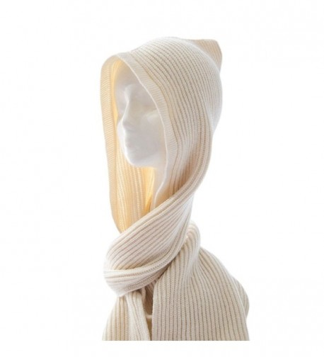 Unisex Winter Bomber Hats Knit Hooded Scarf Wrap Cap Hoodie Scarves Shawl Crochet Hat - Beige - CN187I3H0AY