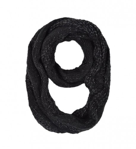 Premium Winter Glitter Knit Infinity Loop Circle Scarf - Different Colors - Black - C211PI866PJ