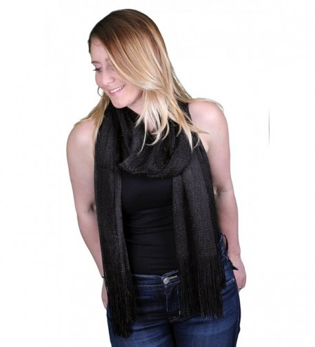 Funky Junque's Sheer Woven Metallic Sparkle Fringe Rectangle Scarf Shawl Wrap - Black - CK17Z3KOZUR