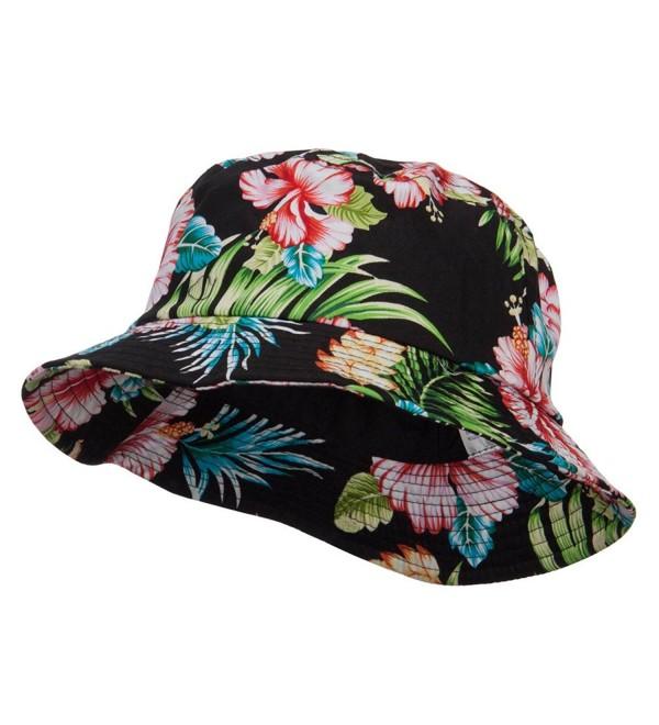 Floral Cotton Bucket Hat - Black - C6124YGZLE7