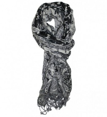 Ted and Jack - Luxe Classic Paisley Reversible Pashmina - Black and White - CX12HRKTMXX