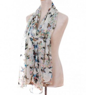 Demarkt Chic Butterflies Print Chic Elegant Scarf for Women Beige White - CQ11IB1TZSP