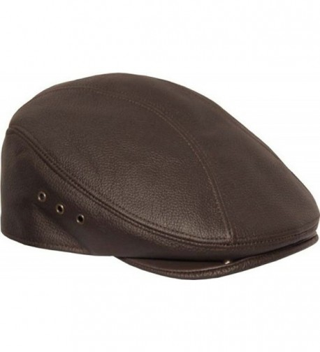 Genuine Made In The USA Leather Ivy Flat Cap - Brown - CF11LQZUBHR