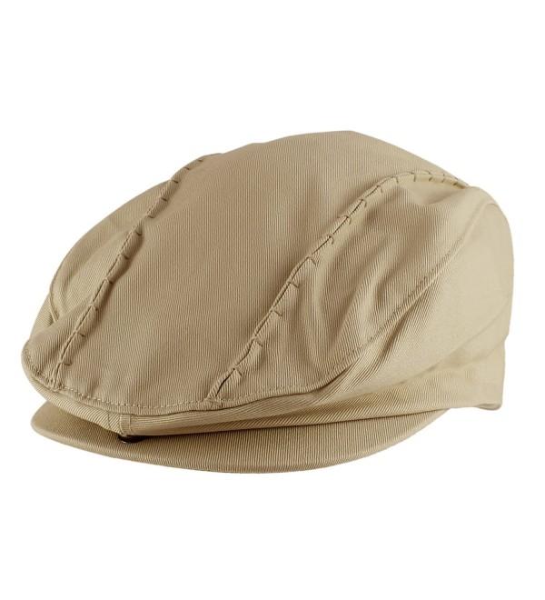 Morehats Stitched Flat Cap Cabbie Hat Gatsby Irish Hunting Newsboy Beret - Beige - CC11LLY6XDT