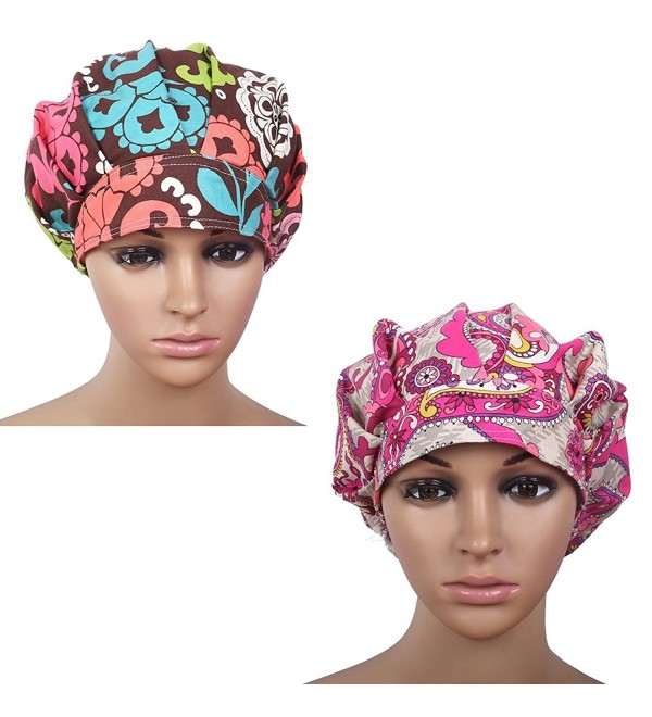 Doctor Classic Scrub Hat Adjustable Sweatband Bouffant Cap for Women Ponytail - Print 2+print 4 - CU184HT6DSD