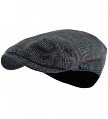 Men's Classic Herringbone Tweed Wool Blend Newsboy Ivy Hat (Large/X-Large- Paisley Dk.Gray) - CF1866HHXEO