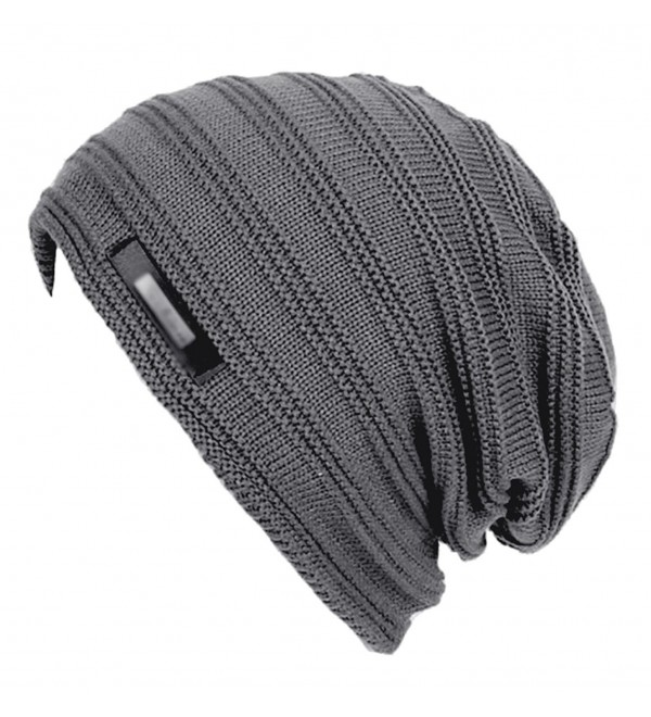 acd5088a5 Men's New hats Plush Lining Texture Knit Skull Cap Warm Winter Beanies Hat  Grey C1186UE4MLH