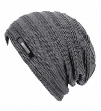 Eianru Men's New hats Plush Lining Texture Knit Skull Cap Warm Winter Beanies Hat - Grey - C1186UE4MLH