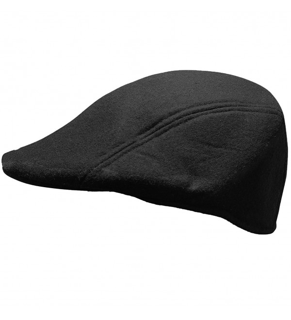 Men's Classic Newsboy Hat- Driving Cap with Ear Flaps in Various Colors - Black - CW12MZRVJH4