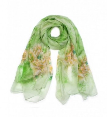 Dahlia Women's 100% Long Sheer Silk Scarf - Colorful Flower Design - Blossom Peony - Green - C812H6USAAD
