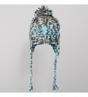 Womens Braided Acrylic Winter Hat Turquoise One
