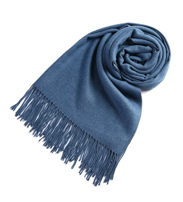 Timo Lee Fashion Cashmere Scarves Pashminas - Denim Blue - CA1868SQ4HC