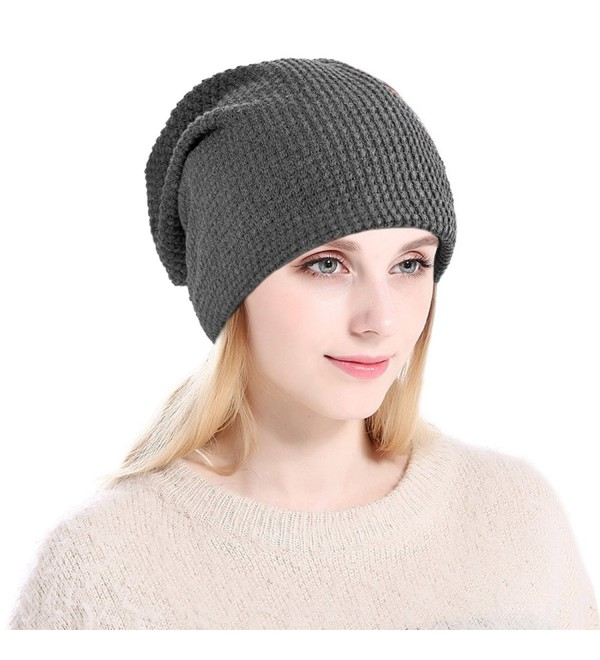 Vbiger Winter Warm Beanie Hat Knit Hats Slouchy Beanie Cap with Fleecy Lining Unisex for Men Women - Gray - C0185YSZDZO