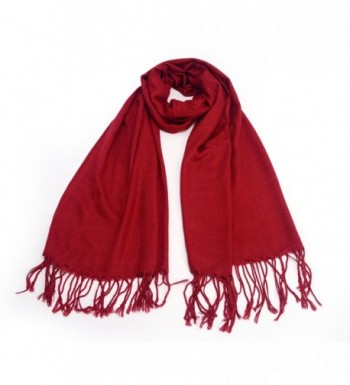 REINDEER Thick Solid Color Pashmina Shawl Scarf US Seller - Dark Red - C312856VY4N