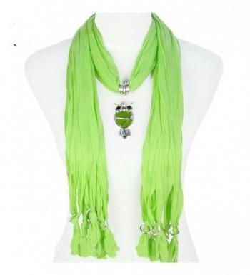 Huan Xun Women Resin Owl Pendant Jewelry Necklace Scarf - C Light Green - CE118H5W5KZ