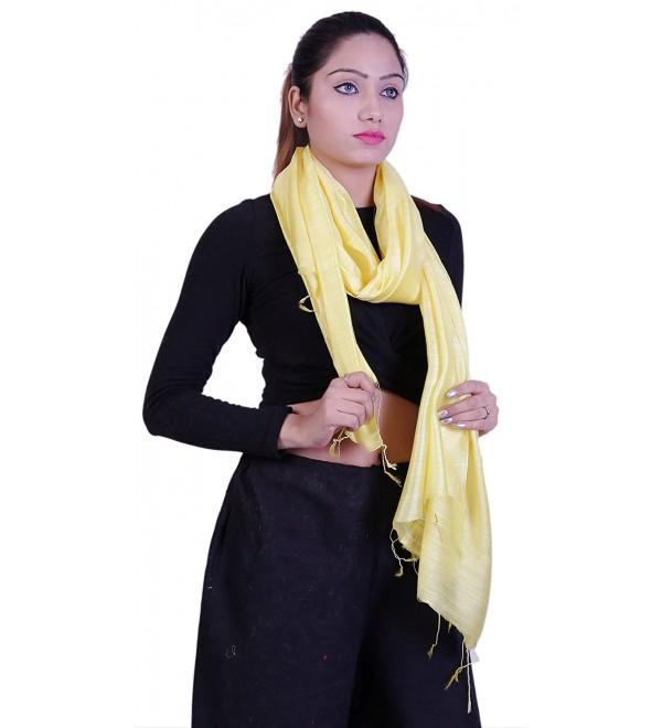 Handcrafted Linen & Silk Blend- Soft- Airy- Light Scarf - Lemon Yellow - C5189EUQ7K0