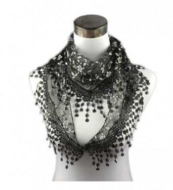 DEESEE(TM) Lace Tassel Sheer Burntout Floral Print Triangle Mantilla Scarf Shawl - Black - C212MAT8T3U
