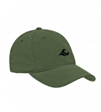 Koloa Surf Wave Logo Soft & Cozy Relaxed Strapback Adjustable Baseball Caps - Olive With Black Embroidered Logo - CT1802MMQ7U