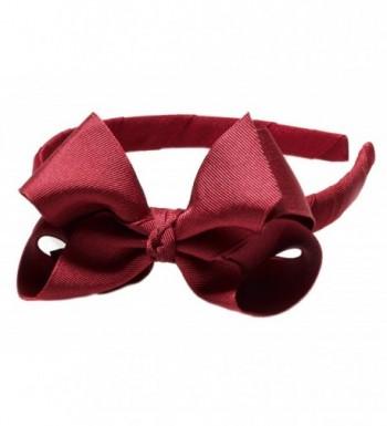 "Anna Belen Girls ""Lila"" Grosgrain Bow Headband O/S Burgundy - Burgundy - CI11RIGBSYN"