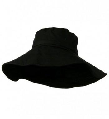 Big Size Ladies Linen Wide Brim Hat - Black - C811HZ9870V
