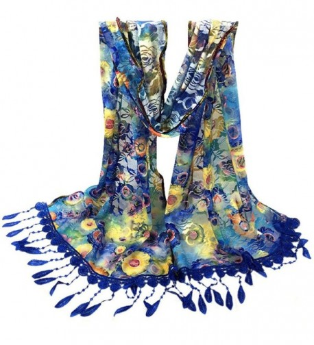 DEESEE(TM) Fashion Women Long Wrap scarf Tassel Shawl Lace Scarf Scarves - Blue - C812N2EQUDN