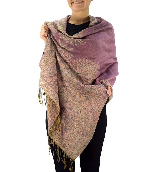Peach Couture Soft Vintage Persian Paisley Printed Solid Pashmina Shawl Scarf - Pink - C91874TX7WS